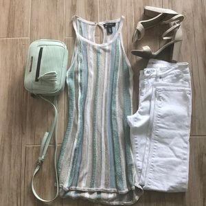 WHBM longline tank with multicolored lurex stripes